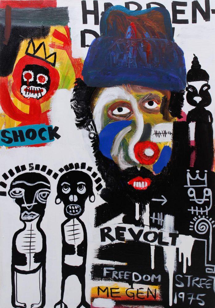 Kojo Marfo, Peddlers Corner, Oil and acrylic on canvas, 100 cm x 70 cm