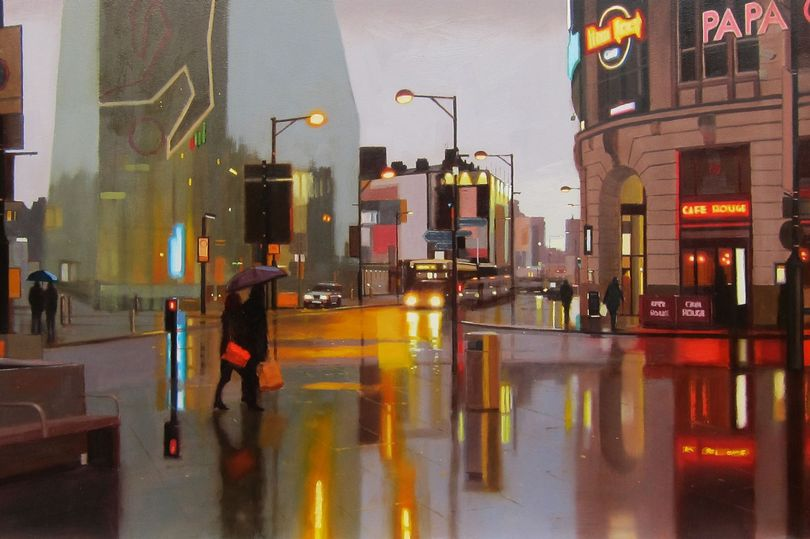 Painting of Manchester city centre by Michael Ashcroft