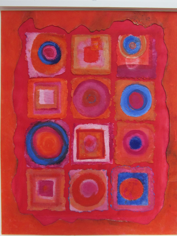 Jill Tattersall Finger Circles, 84x67 cm, mixed media on handmade paper