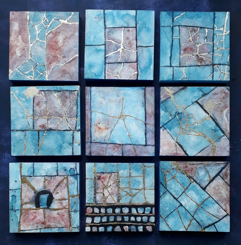 Jill Tattersall Mending the Cracks 68x68cm, mixed media on wood panels