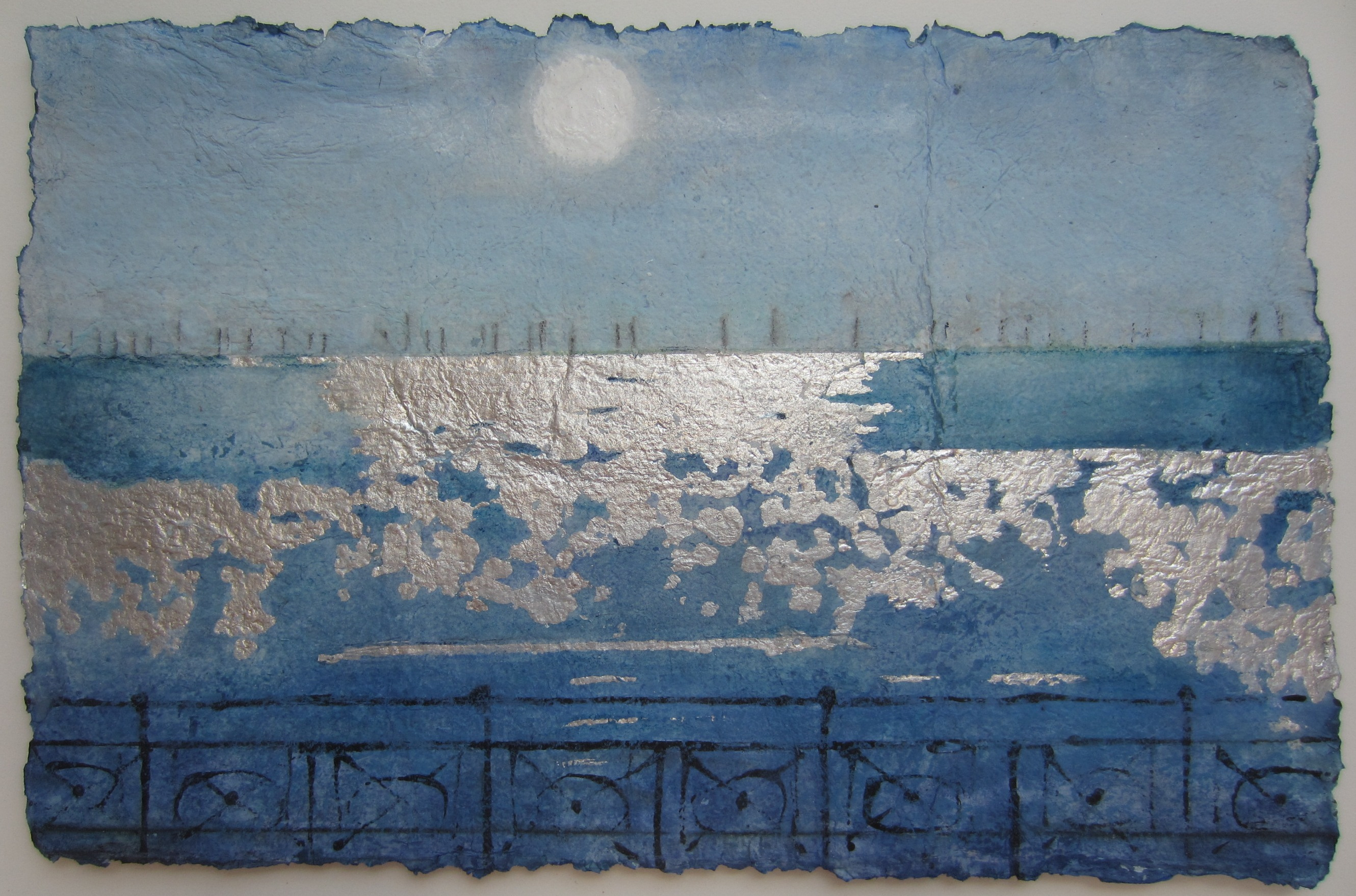 Jill Tattersall Sun Wind Sea, 58x83, paints, inks, pigments, dyes and silver leaf on handmade paper