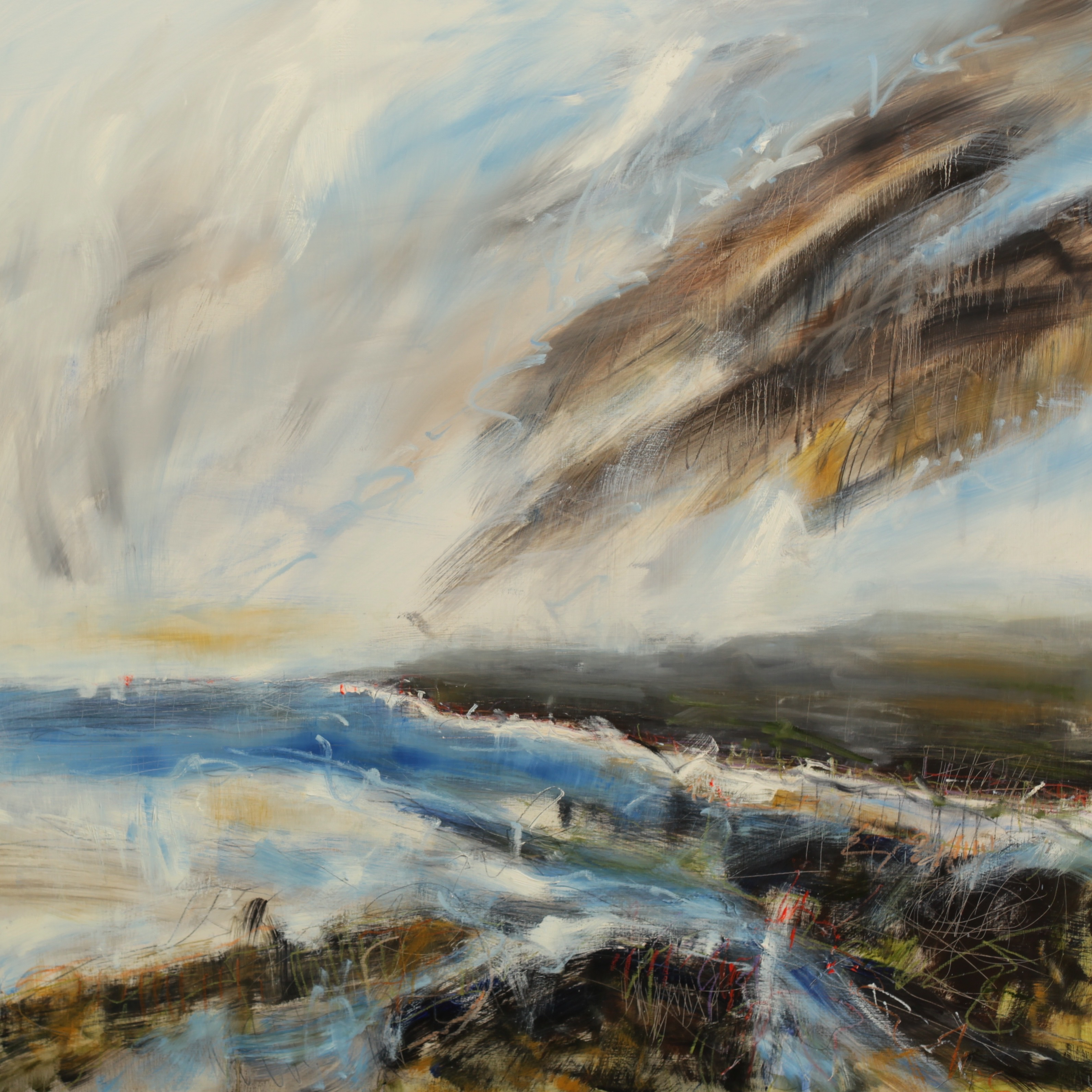 Lucy Marks Wild Skies OIL on wood panel 120x120cm
