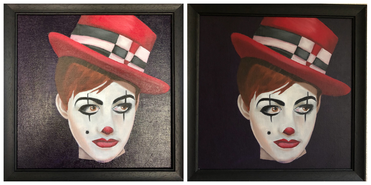 Painting of The Clown with Cobra oils before and after applying a matt varnish
