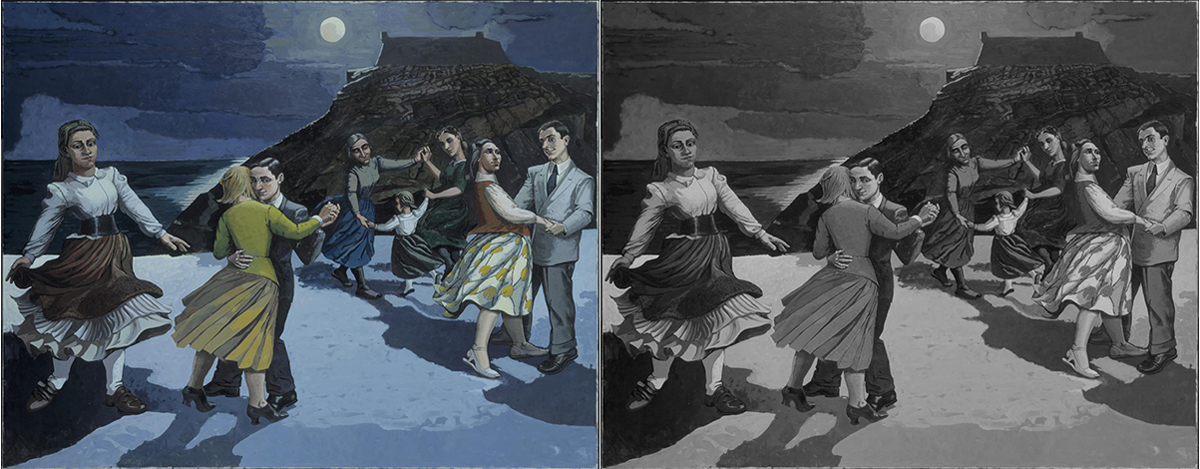 Paula Rego, The Dance, 1988, Acrylic paint on paper on canvas, 212 x 274cm, copyright Paula Rego (Desaturated to a grey scale)