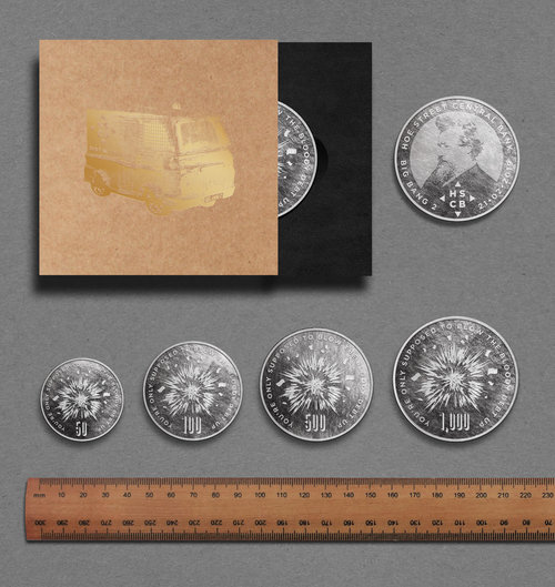 Mock ups of the coins made from the exploded van that bond holders over £5 receive as 'Yield'