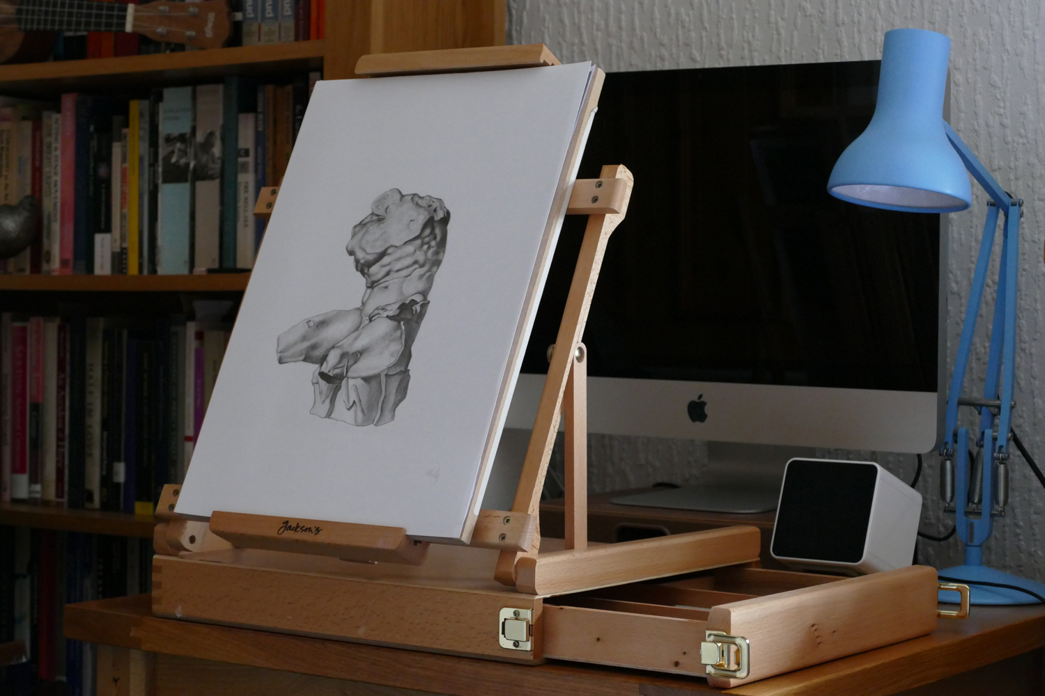 Jackson's Wentworth Table Easel in use sketching at home 'studio'