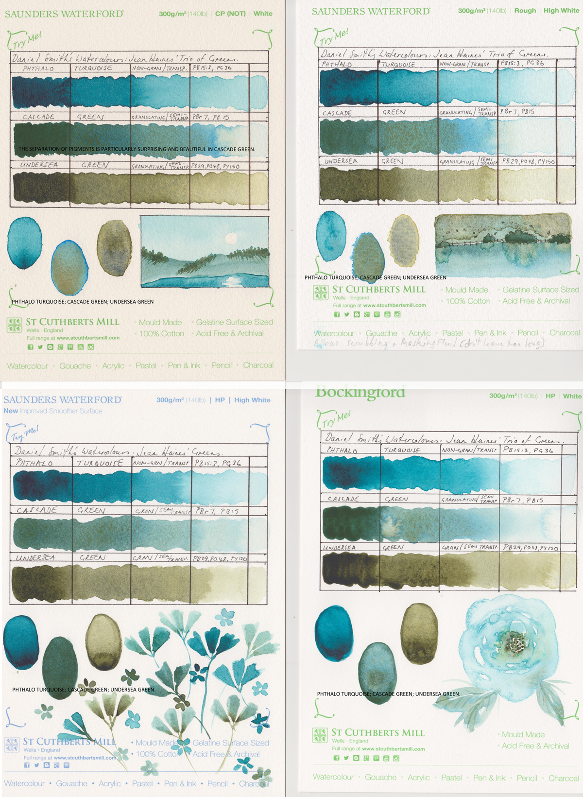 Swatches on various St Cuthbert's Mill paper samples. Showing how Daniel Smith Watercolours in three jean haines greens behave.