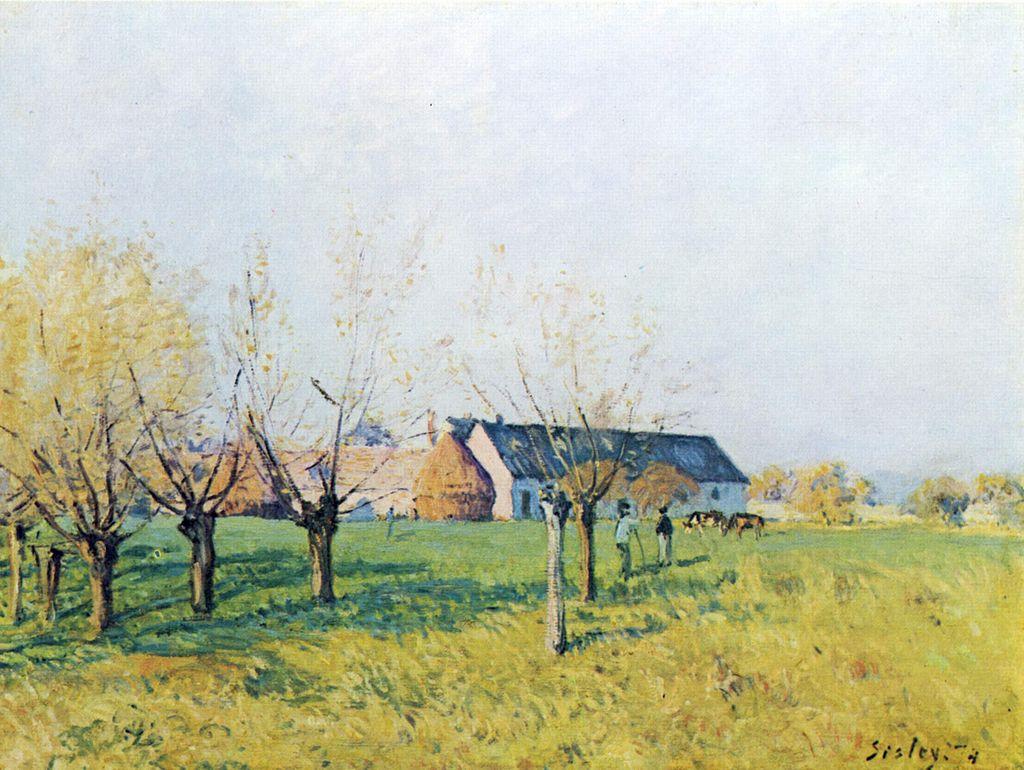 Alfred Sisley, Bauernhof zum Höllenkaff, 1874, oil on canvas, 47 cm x 62 cm