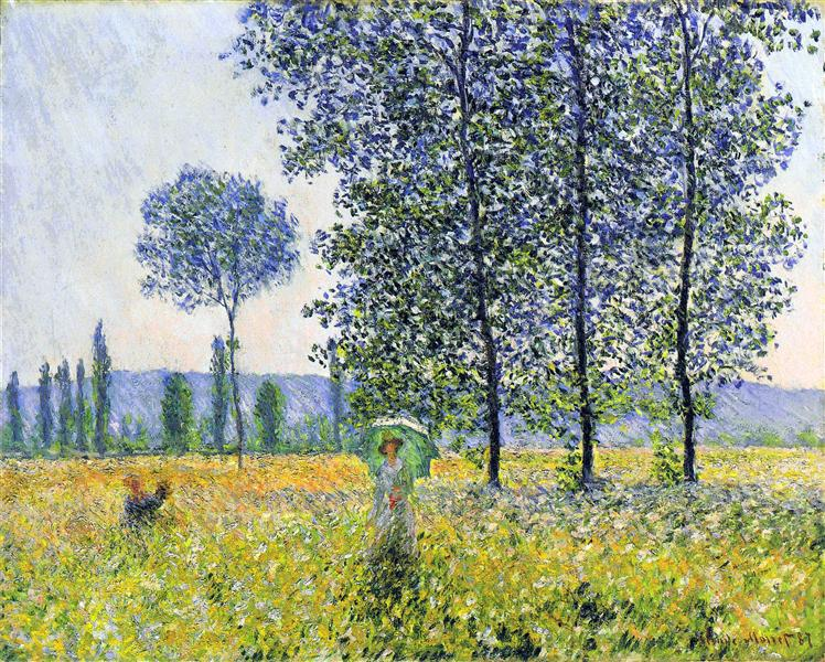Claude Monet, Sunlight Effect under the Poplars 1887 60x81cm oil:canvas Staatsgalerie, Stuttgart