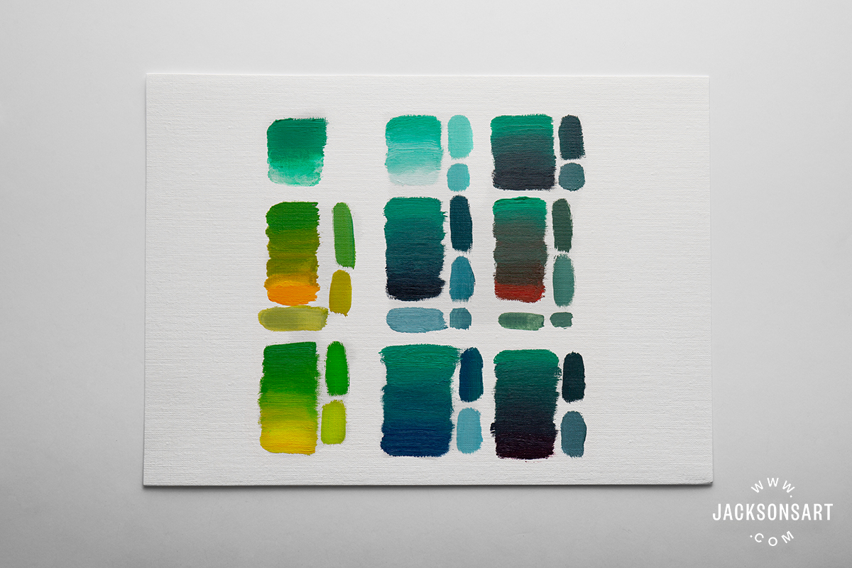 Mixes left to right, top to bottom: Emerald Green painted out with turps, mixed with titanium white (safflower), mixed with lamp black, mixed with Cadmium Yellow Deep Genuine, mixed with Indigo, mixed with Cadmium Red Genuine, mixed with Cadmium Yellow Genuine, mixed with French Ultramarine, mixed with Lamp Black. The swatches to the left of, and below the mixes are colours I found useful or interesting (sometimes lightened with white or thinned with solvent).