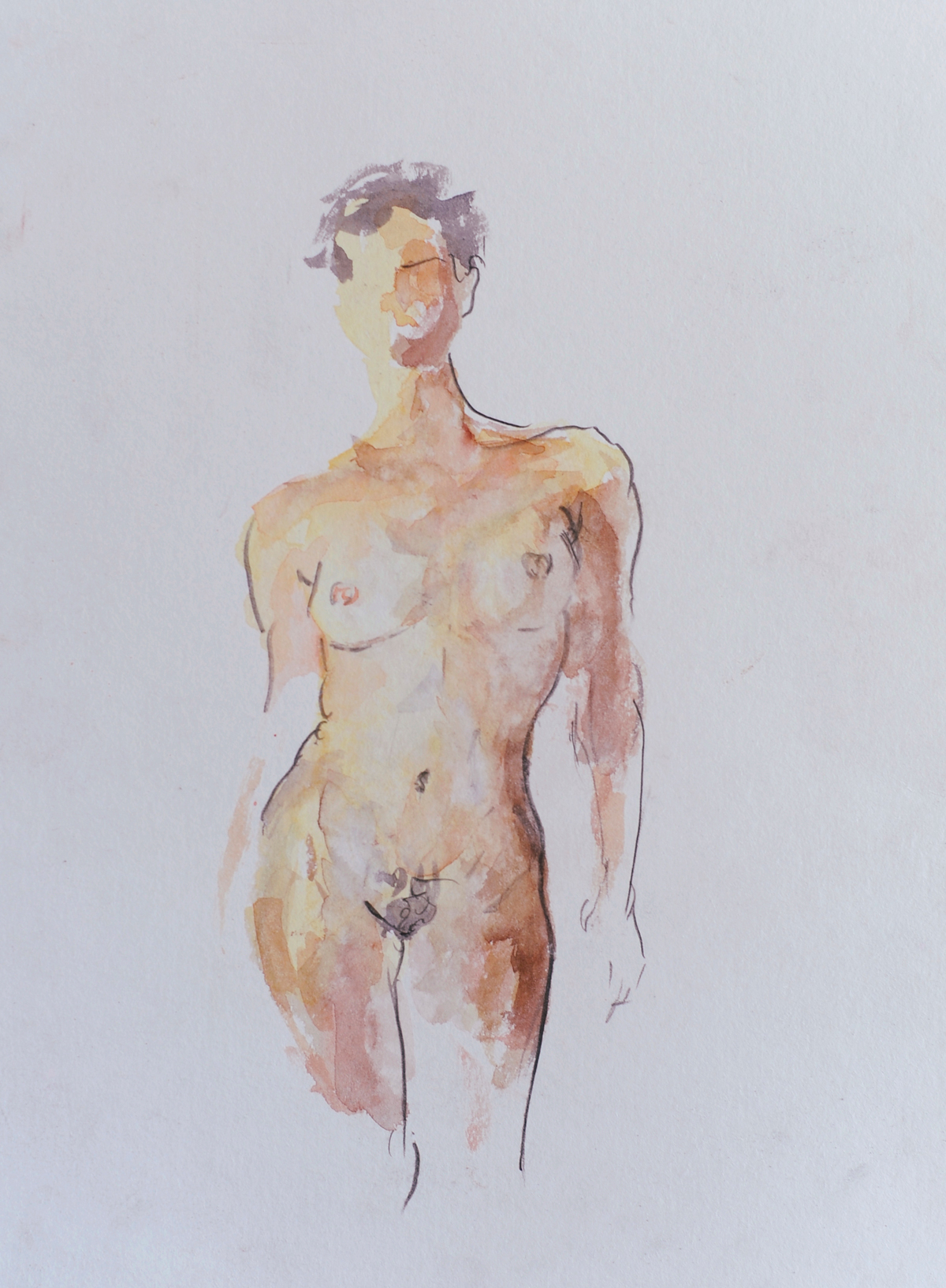 Femal-nude-2019-[Watercolor-and-pencil-on-paper-13x10]