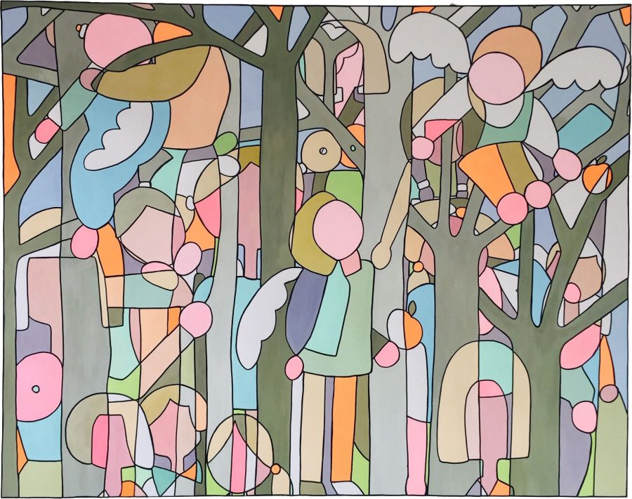 Lesley Blakelock, Flying the nest, Paint pen on 400gsm paper, 153 cm x 122 cm