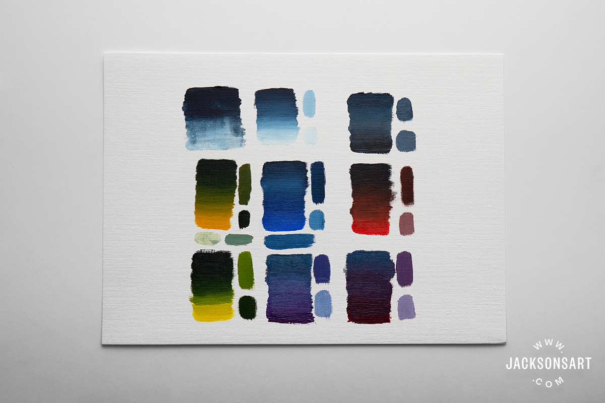 Mixes left to right, top to bottom: Indigo gradient with turps, mixed with titanium white (safflower), 1:1 Indigo to titanium white mixed with a 1:1 lamp black to zinc white mix, mixed with Cadmium Yellow Deep Genuine, mixed with mixed with French Ultramarine, mixed with Cadmium Red Genuine, mixed with Cadmium Yellow Genuine, 1:1 Indigo to titanium white mix mixed with Manganese Violet, same 1:1 mix mixed with Alizarin Crimson. The swatches to the left of, and below the mixes are colours I found useful or interesting (sometimes lightened with white or thinned with solvent).