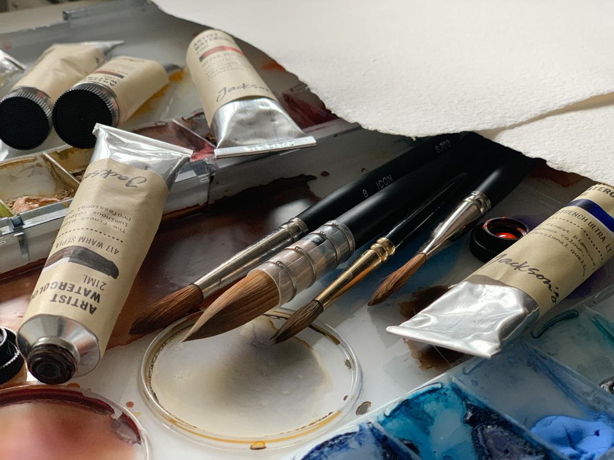 Studio shot of Jackson's watercolour products