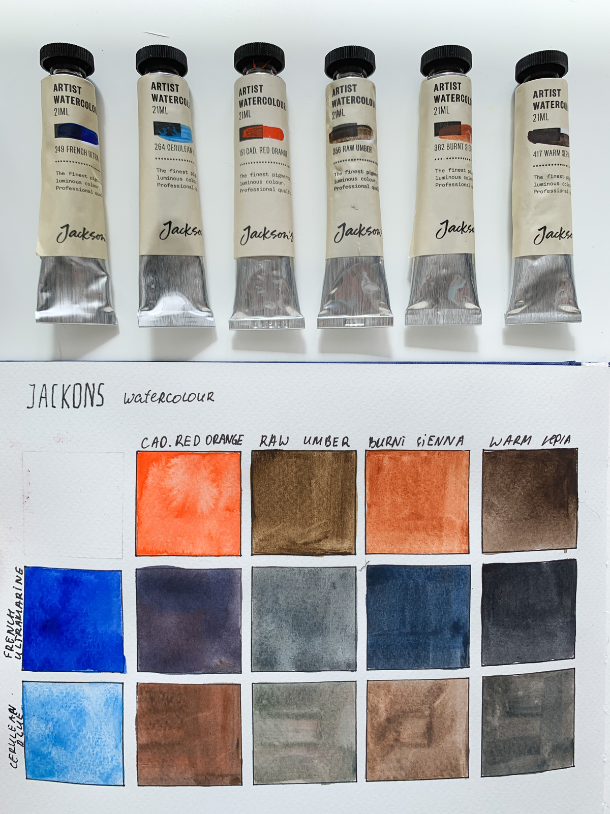 Jackson's Watercolour tubes and painted out mixing grid