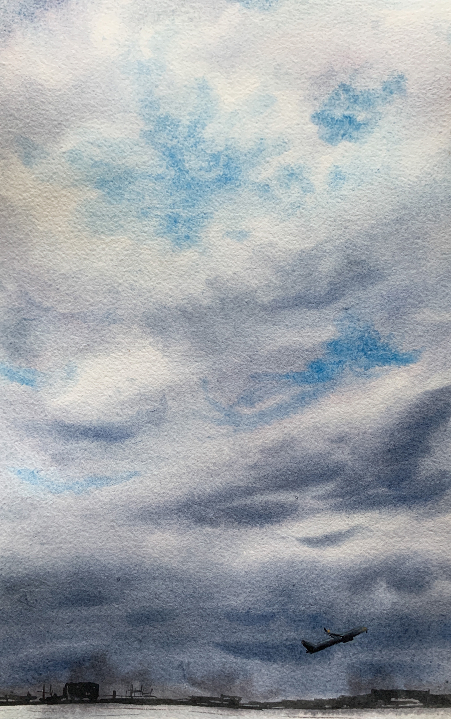 Sky painting by Anna Zadorozhnaya on Jackson's Two Rivers Watercolour Paper