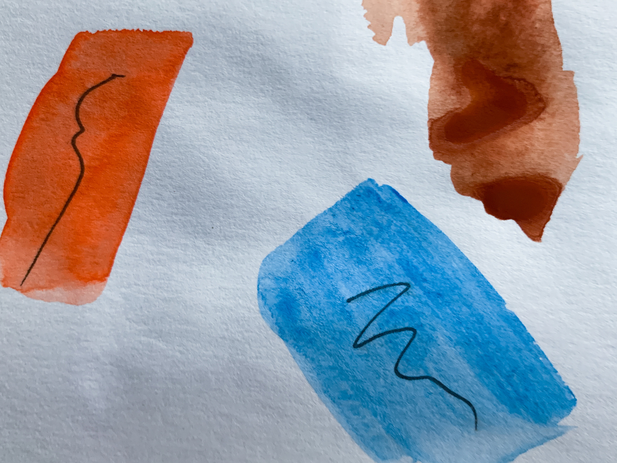 Showing the opacities of Jackson's Watercolour Сerulean Blue and Cadmium Red Orange