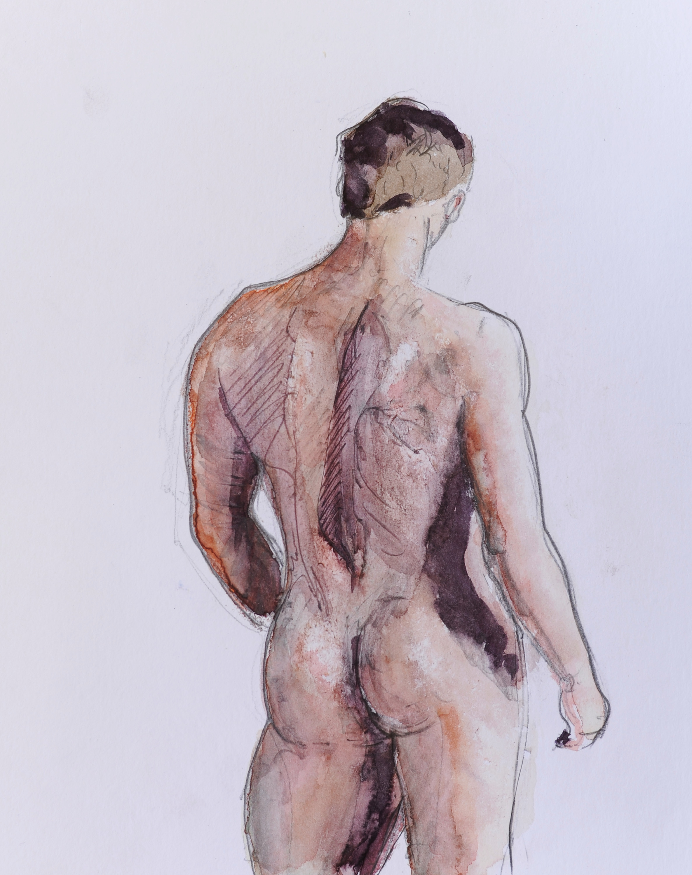 Male Nude Back 2019 [Watercolor and graphite on paper 13x10]