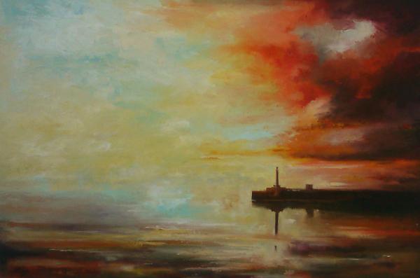 Anthony Giles, Margate Evening Light, Oil on canvas, 156 cm x 106 cm