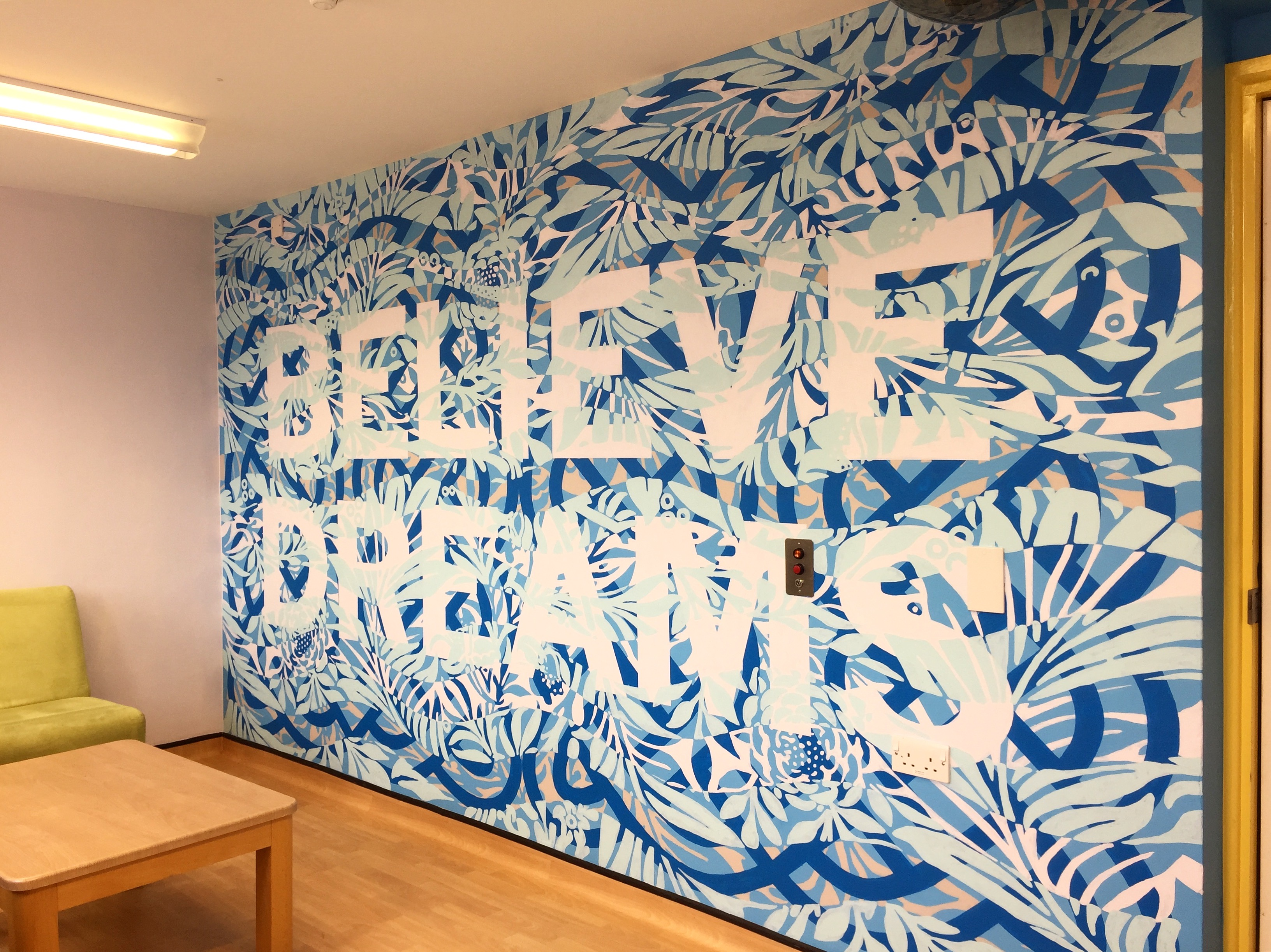 Wall painting by Mark Titchner, in the Family Room at Snowsfields Adolescent Unit in The Maudsley Hospital.