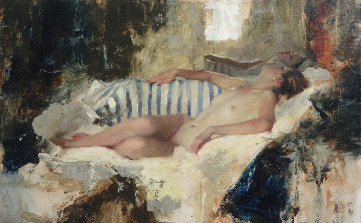 Michael Alford, Nude Reclining Striped Cotton 1 14 x 22 Oil on Board