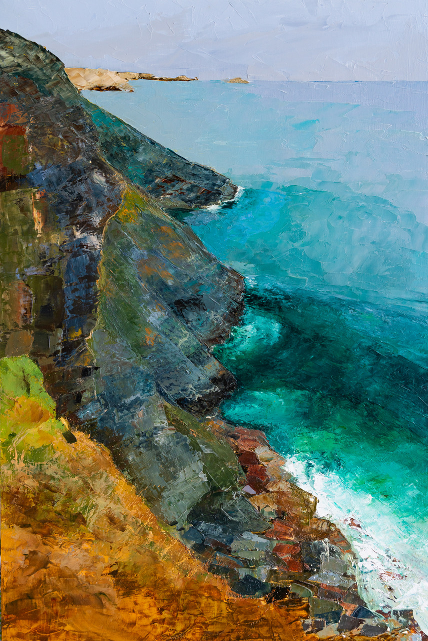 An oil painting on Jackson's Smooth Wooden Panel, <em>Looking Back, Port Quin, Cornwall</em>, Ready for exhibition at The Atrium Gallery, Truro, April 2019
