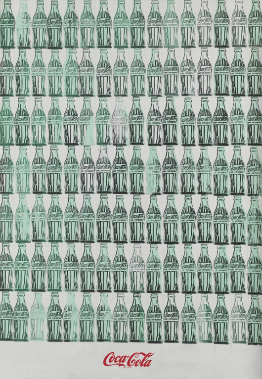 Andy Warhol, Green Coca-Cola Bottles, 1962, Acrylic, screenprint, and graphite pencil on canvas, 82 3/4 × 57 1/8 in, 210.2 × 145.1 cm