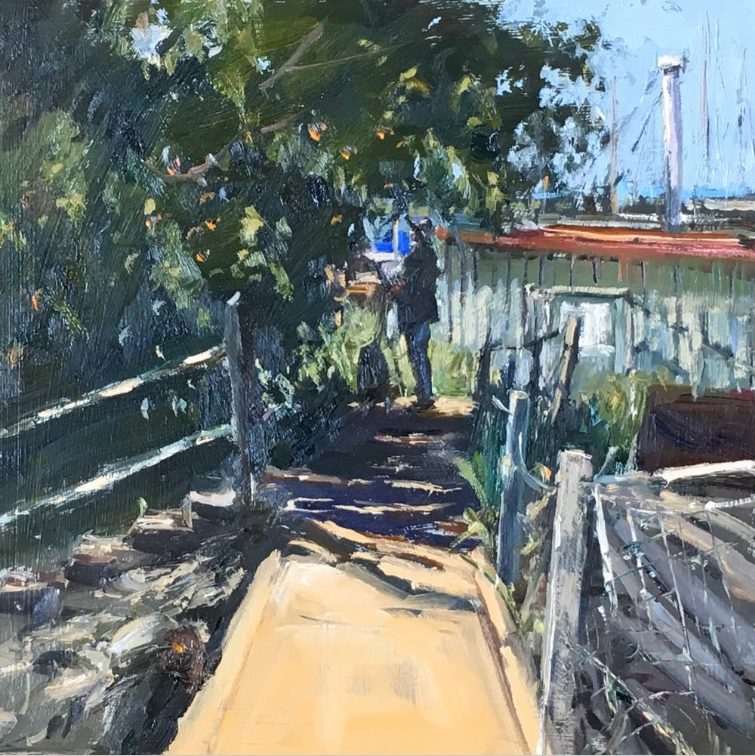 Roger Dellar, Painter in the shade, 12x12, Wapping group day