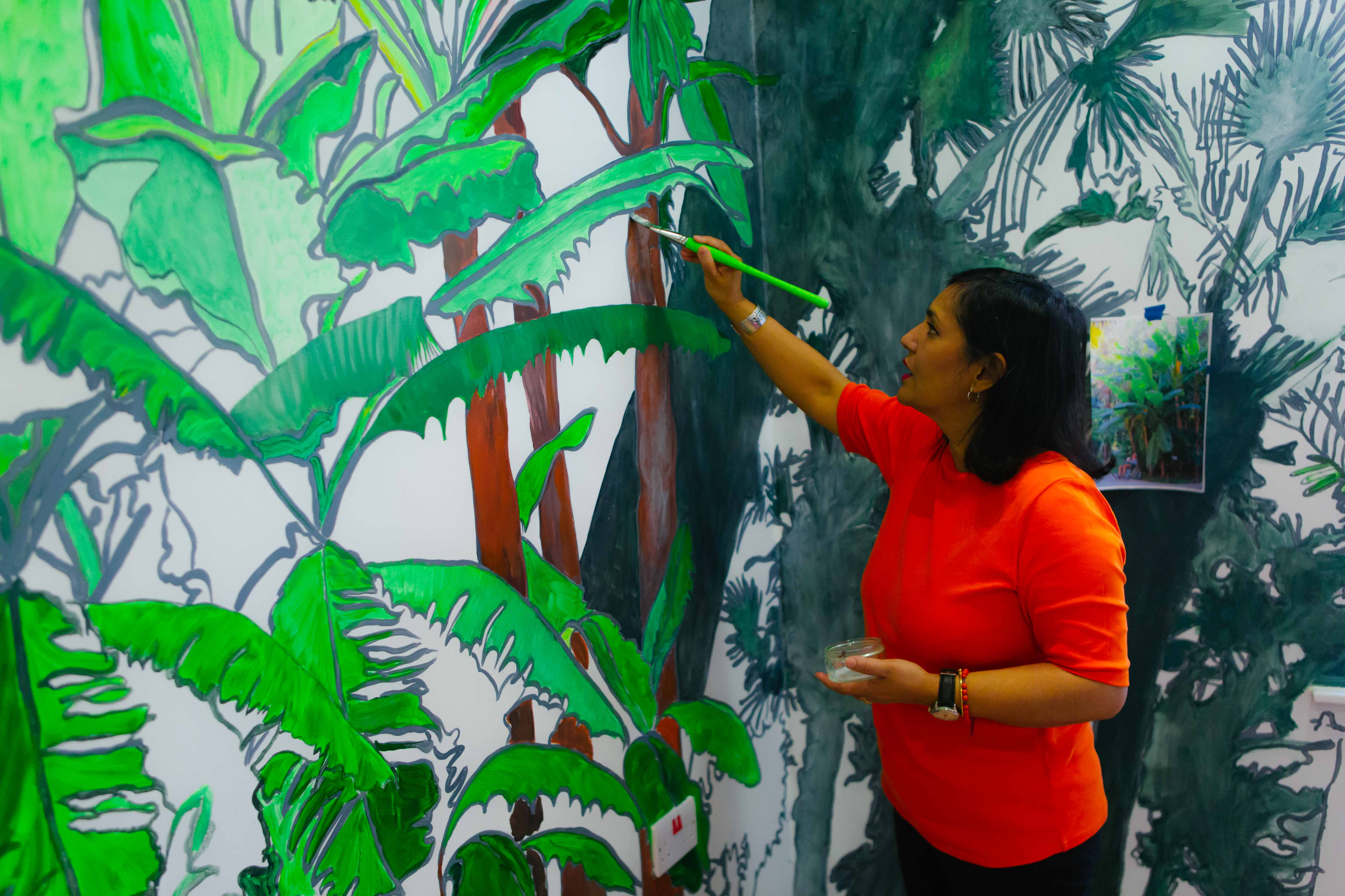 Sutapa Biswas - The completed mural at work in the Women's Quiet Room at Garnet Ward.