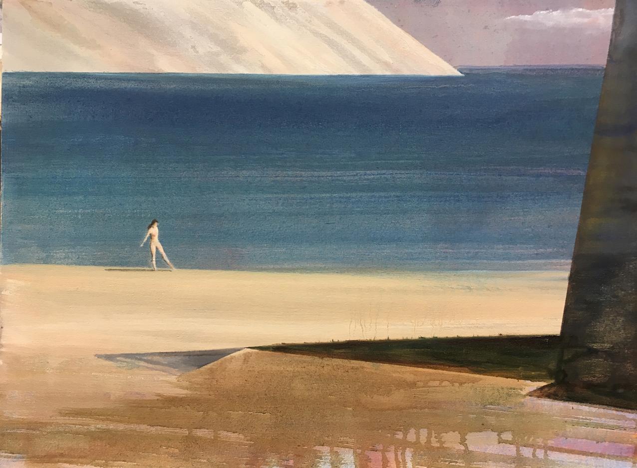 David Edmond, Untitled (Beach), 2018, Oil on Canvas, 46 cm x 61 cm