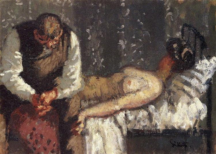 Walter Sickert, The Camden Town Murder, or What Shall We Do For the Rent? c.1908 - c.19009, oil,canvas, 25.6 x 35.6 cm