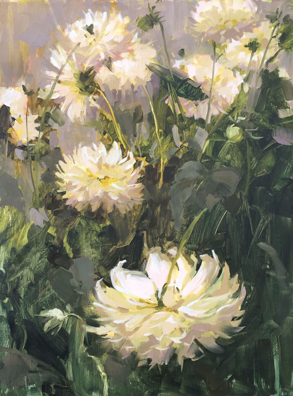 Haidee-Jo Summers, White dahlias Original oil painting on panel. Size approx 16 x 12 Painted in a wonderful greenhouse full of prize dahlias and giant chrysanthemums.