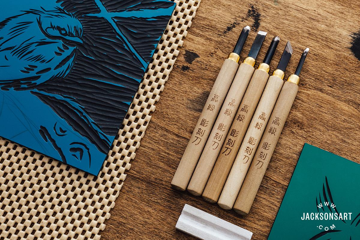 Vinyl cutting and Japanese Traditional tools mokuhanga