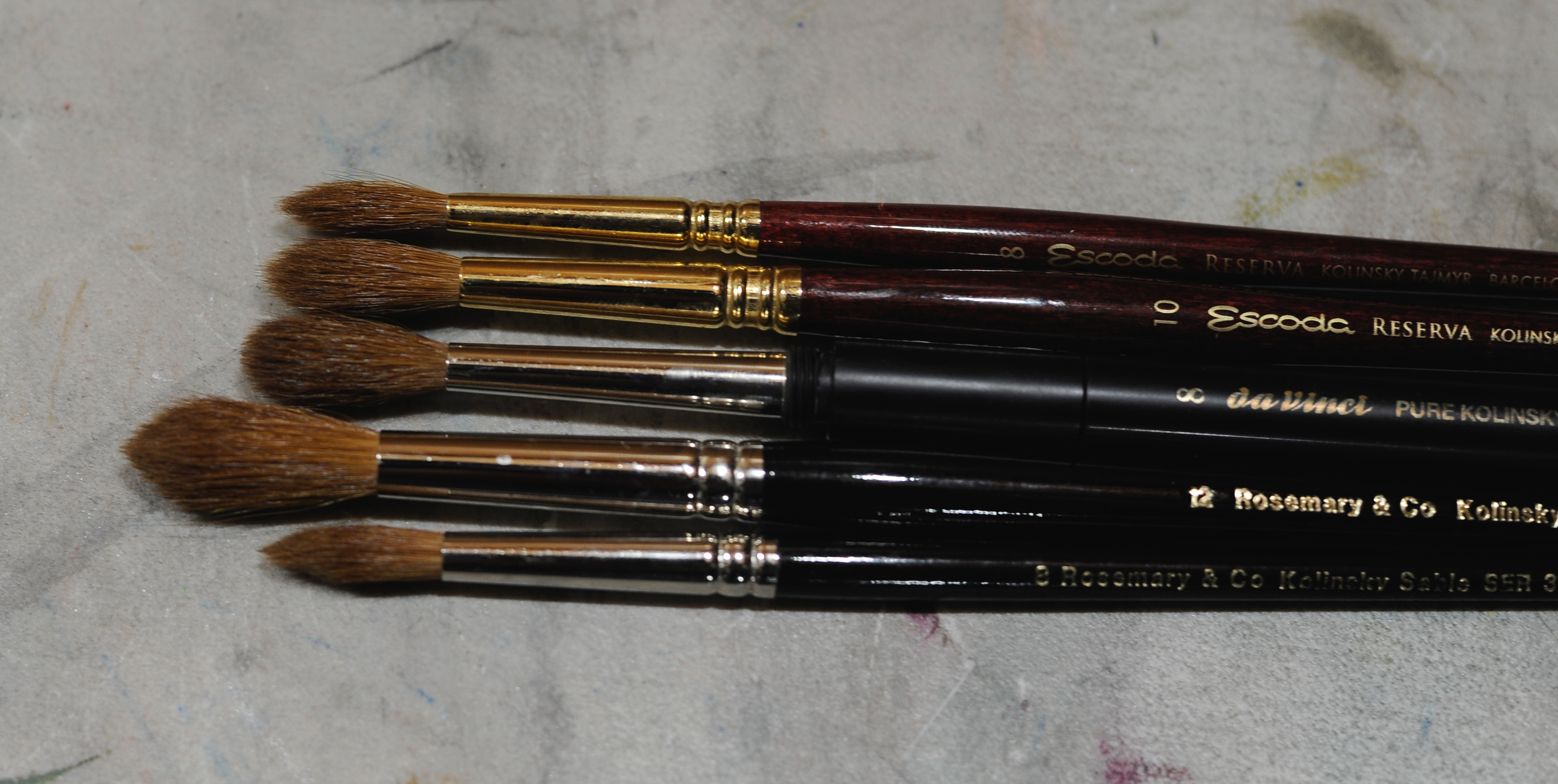 Dry brushes for comparison: Escoda Reserva size 8, Escoda Reserva size 10, Da Vinci 1503 size 8, Rosemary and Co series 33 size 12, Rosemary and Co series 33 size 8
