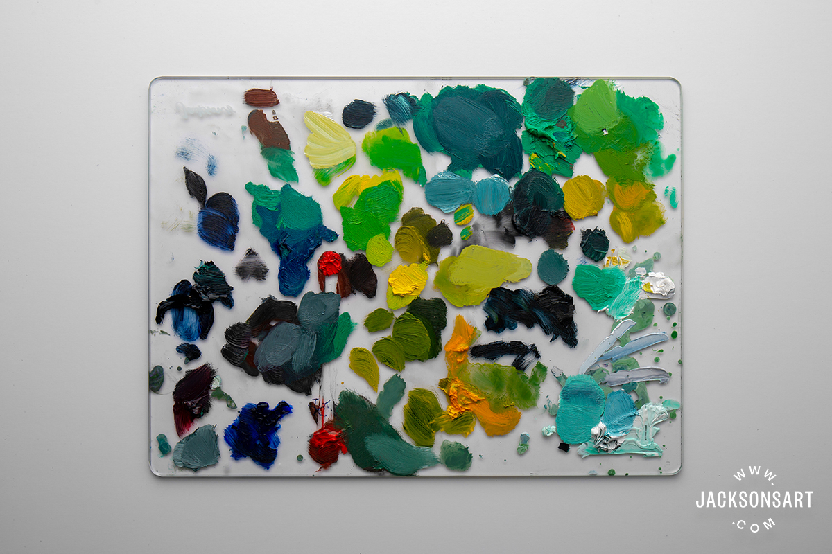 Jackson's Professional Oil Emerald Green mixes on Jackson's Glass Palette