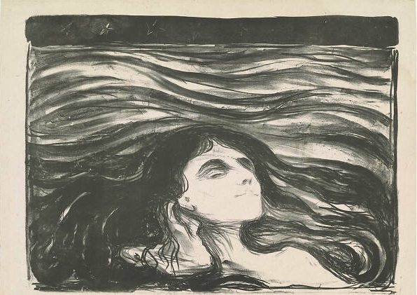 Edvard Munch, On the Waves of Love, 1896, Etching on stone