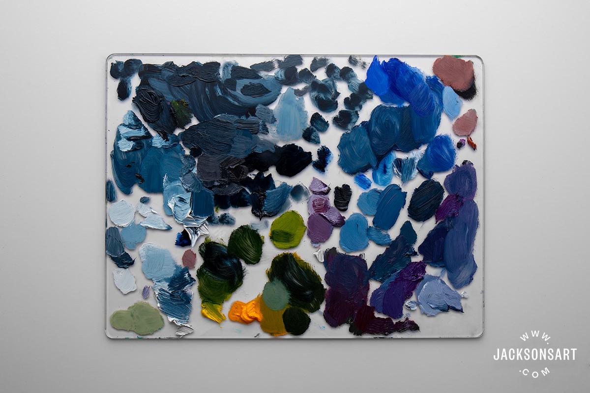 Jackson's Professional Oil Indigo mixes on Jackson's Glass Palette