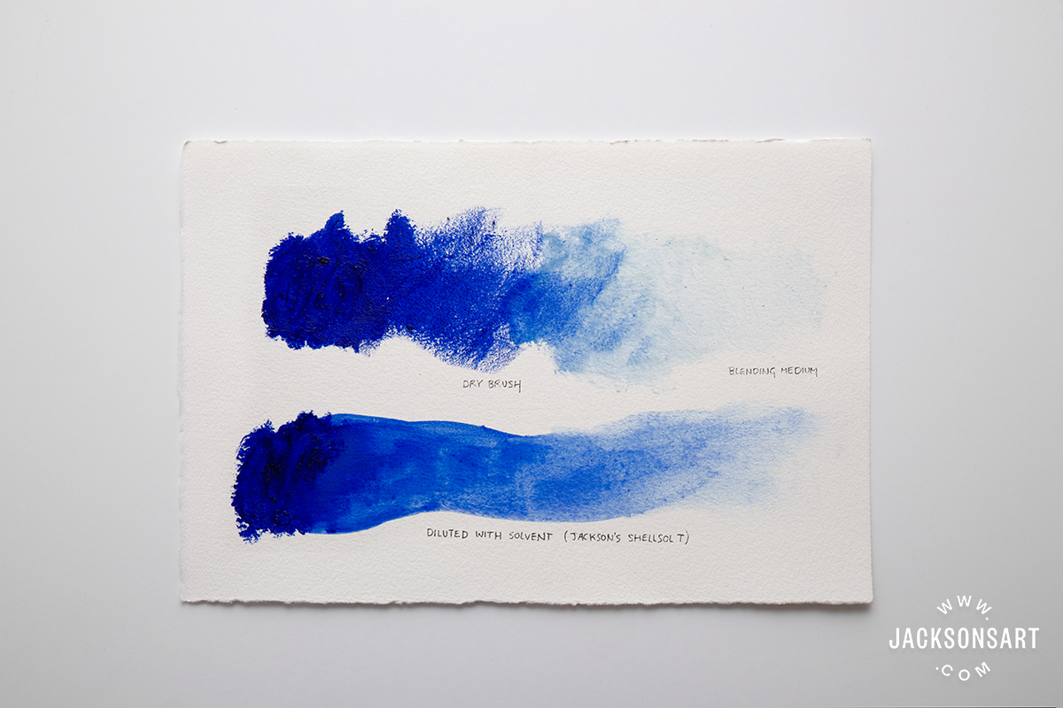 Sennelier Oil Stick Ultramarine test thinned with solvent, illustrating oil stick vs oil pastel