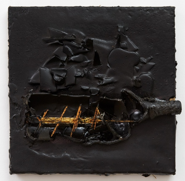 Derek Jarman, Untitled (Ship in Bottle), 1989, Tar and mixed media on canvas, 36.2 cm x 36.2 cm x 11.43 cm