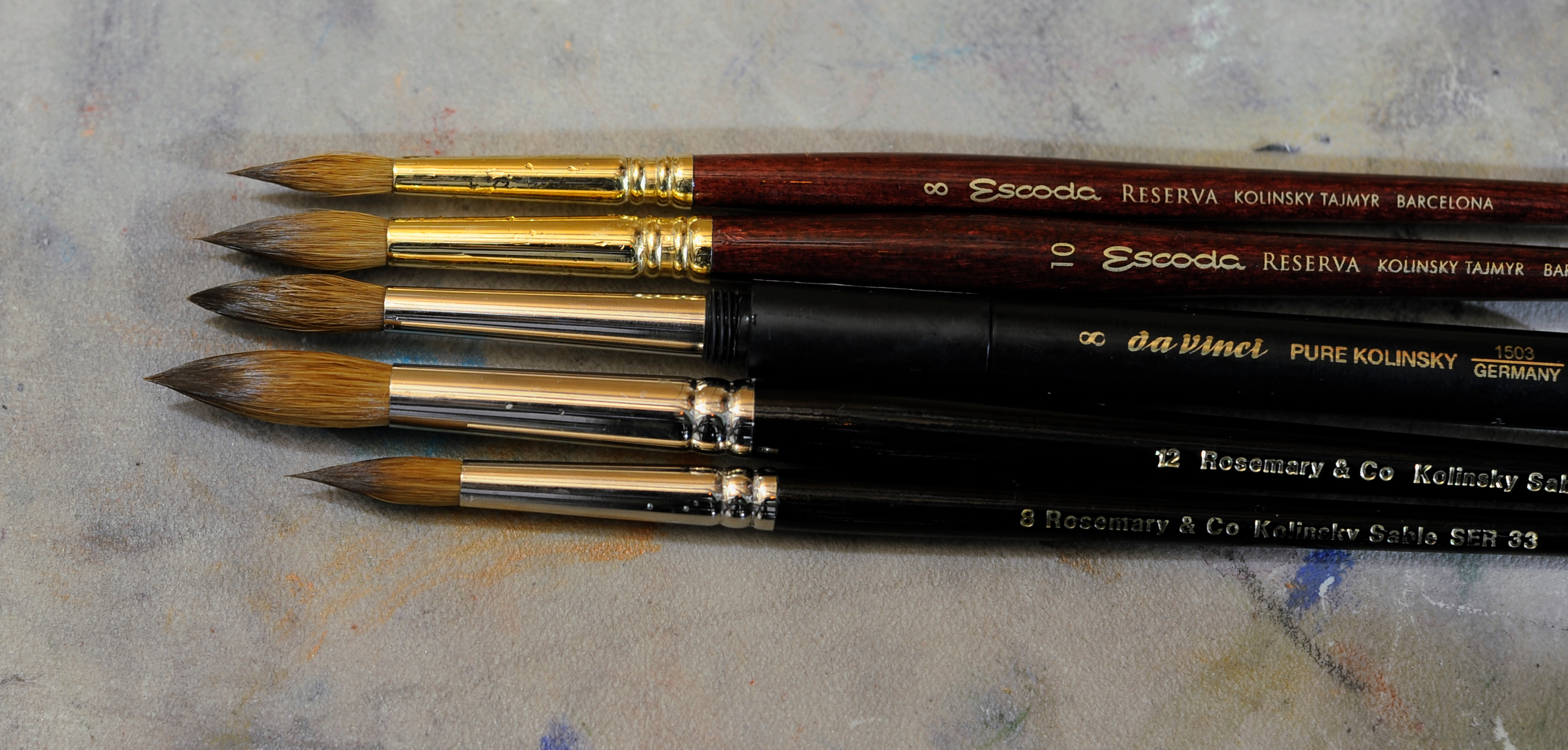 Wet brushes: Escoda Reserva size 8, Escoda Reserva size 10, Da Vinci 1503 size 8, Rosemary and Co series 33 size 12, Rosemary and Co series 33 size 8
