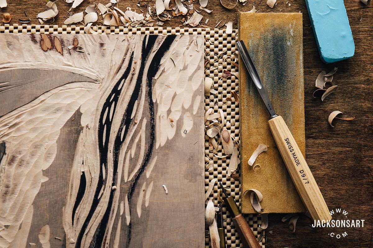 Woodcut on JAS Baltic birch ply plus Pfeil Mallet handle Moku Hanga