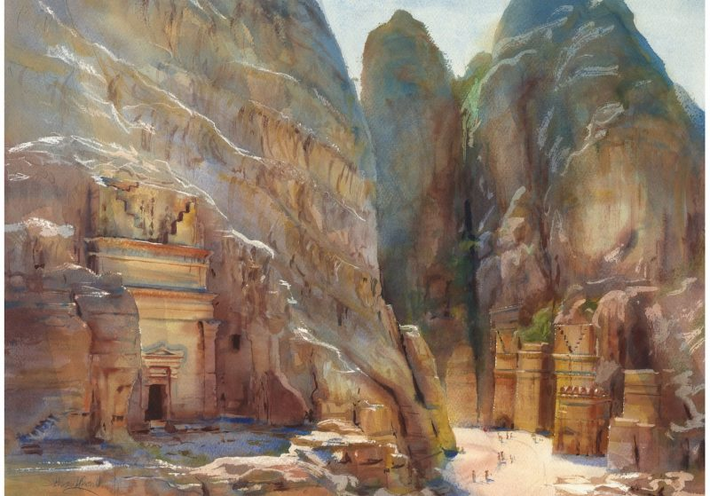 Alexander Creswell, Petra- Tomb of Unayshu & Street of Facades, Watercolour