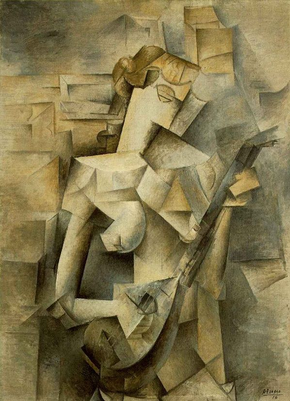 Applying Perspective Example- Pablo Picasso, Girl with a Mandolin (Fanny Tellier), oil on canvas, 100.3 x 73.6 cm, image curtesy of Wiki Commons