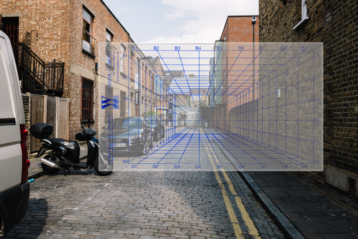 Jackson's photograph of Waterside Designs- Perspective Viewer being used to map the perspective of a landscape