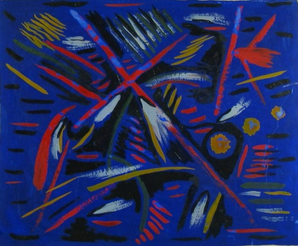 Anonymous Mescaline Painting - Blue and Red Abstract, 1938. Image courtesy of the Museum of the Mind - exhibitions in June