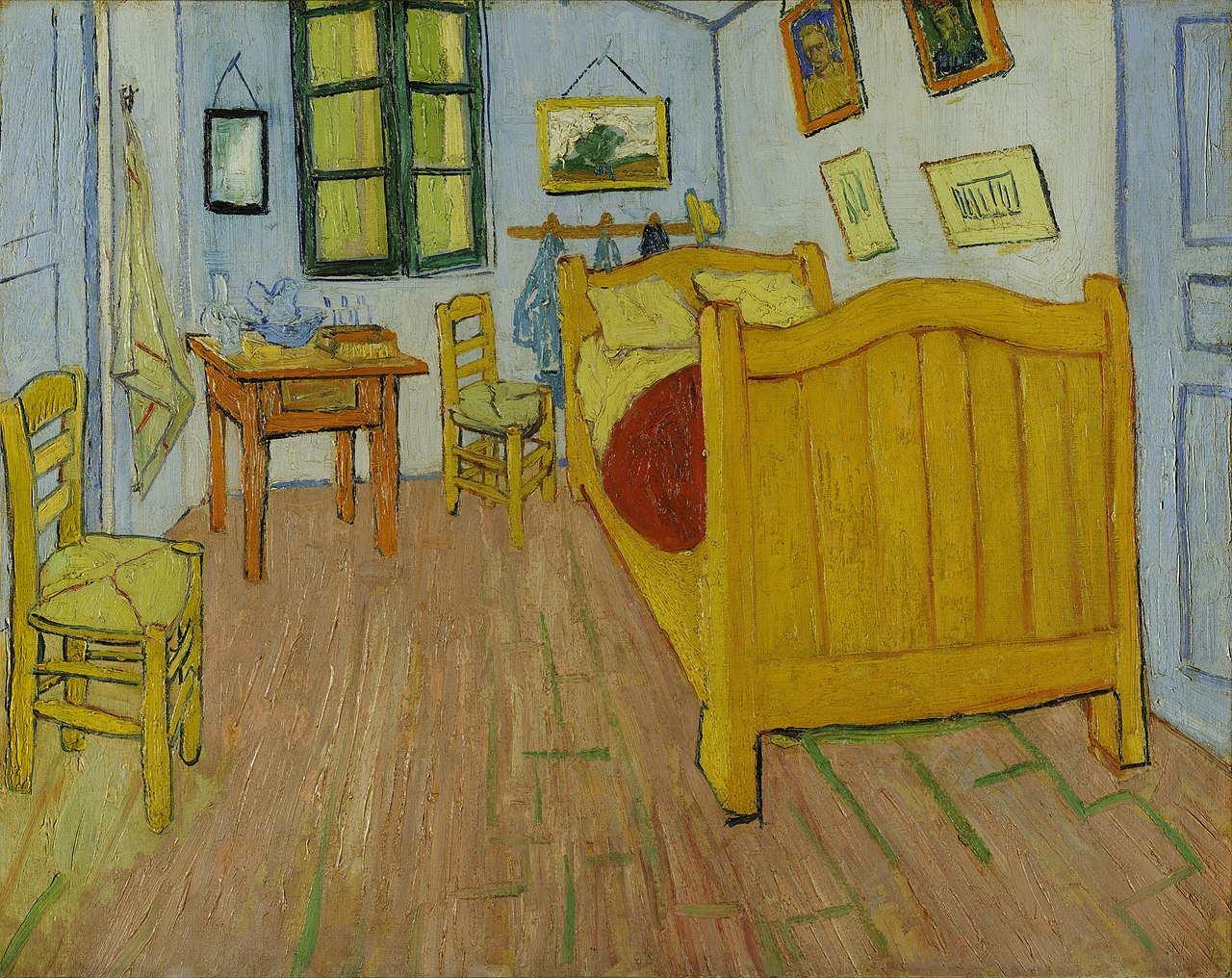 One Point Perspective Example- Vincent Van Gogh, 'La Chambre à Coucher', oil on canvas, Height- 72 cm (28.3 in); Width- 90 cm (35.4 in), image curtesy of Wiki Commons