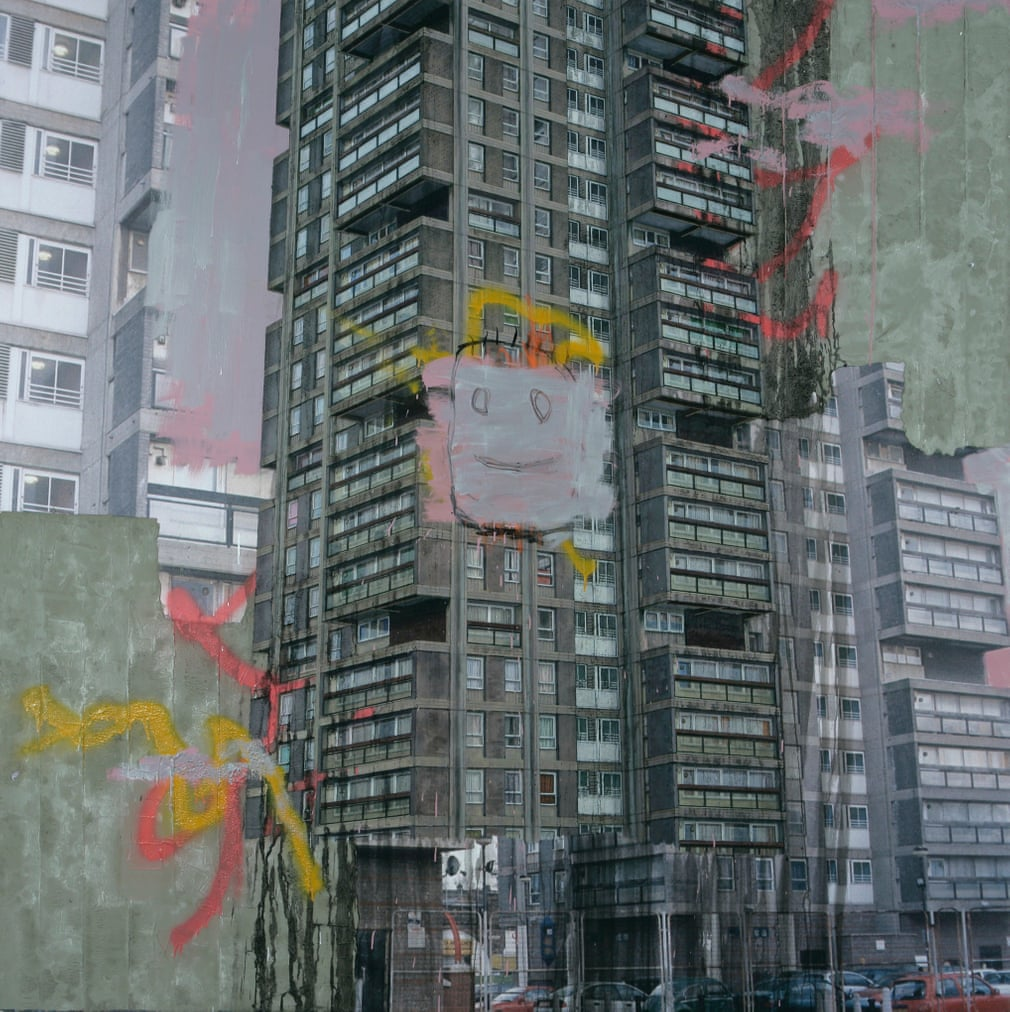 Triple Point Perspective Example- David Hepher, 'Durrington Towers IV', concrete, acrylic, oil & spray-paint on canvas, 228.5x228.5cm, image curtesy of The Guardian