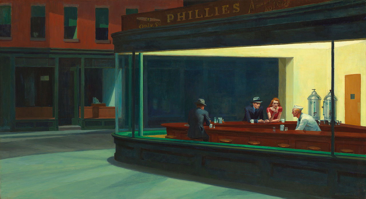 Two Point Perspective Example- Edward Hopper, 'Nighthawks', oil on canvas, Height- 84.1 cm (33.1 in); Width- 152.4 cm (60 in), image curtesy of Wiki Commons