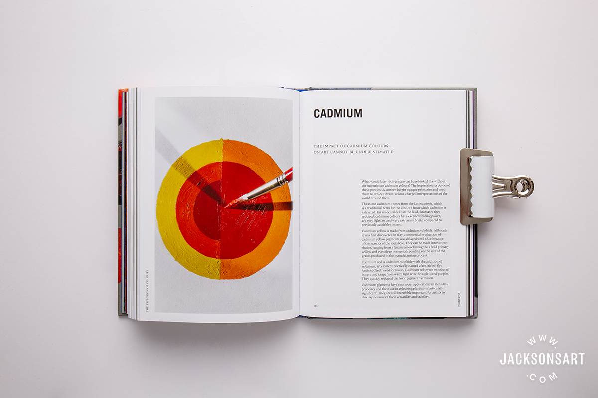 Cadmium pigment history page in 'The Explosion of Colours' chapter