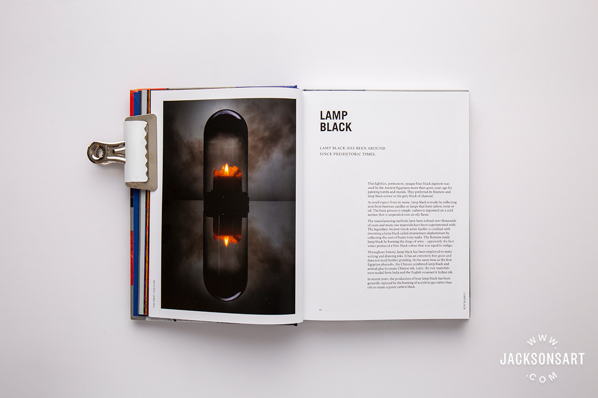Lamp Black pigment history page in 'The First Colours' chapter